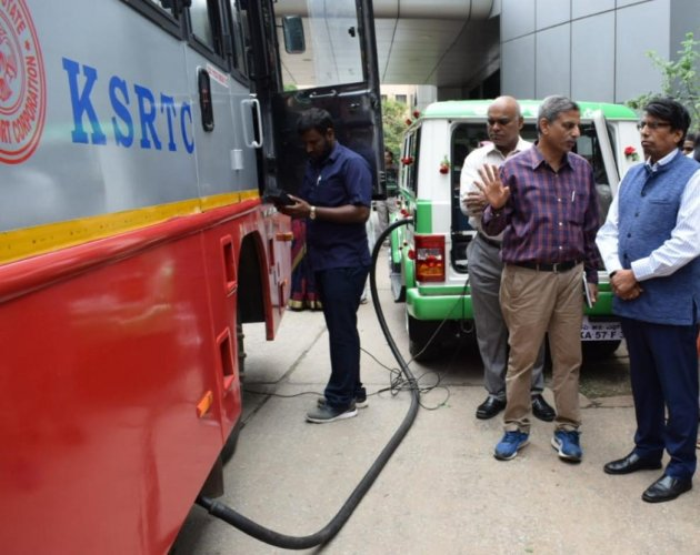 KSRTC launched Prakruthi Vehicles on Thursday in Bengaluru to carry out surprise checks on pollution-causing buses across the state.