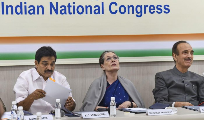 Congress President Sonia Gandhi with party leaders KC Venugopal and Ghulam Nabi Azad during a meeting with general secretaries in New Delhi, Saturday, Nov. 2, 2019. (PTI Photo)