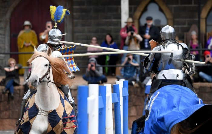 """Two jousting competitors come together during the inaugural """"Ashes"""" jousting tournament between Australia and England at the Kryal Castle in Leigh Creek, some 100 kms west of Melbourne, on November 3, 2019. - Australia and England took their storied sport"""