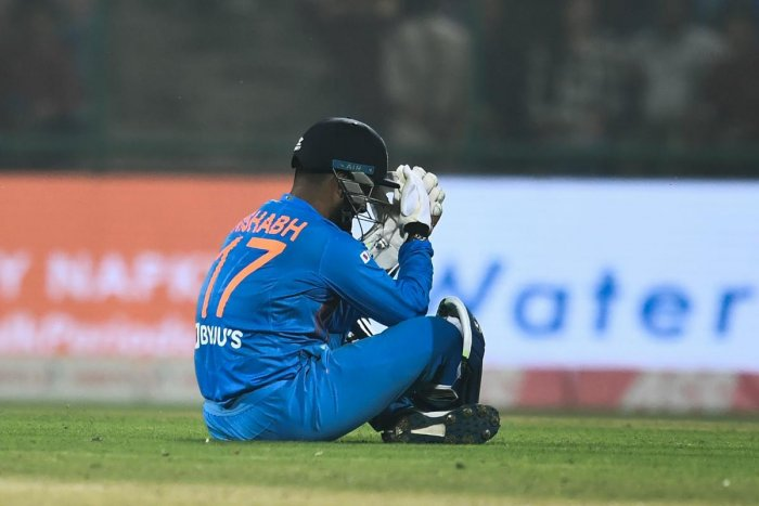 India's wicketkeeper Rishabh Pant reacts during the first T20 international cricket match of a three-match series between Bangladesh and India, at Arun Jaitley Cricket Stadium in New Delhi on November 3, 2019. (Photo by AFP)