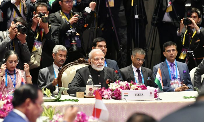 """Officials said the biggest takeaway from the 16th India-ASEAN summit was an acknowledgement of the ASEAN leaders about India's growing role in the Indo-Pacific for the first time after the bloc came out with an """"Outlook"""" for the region. Photo/Twitter (@sanjayunv)"""