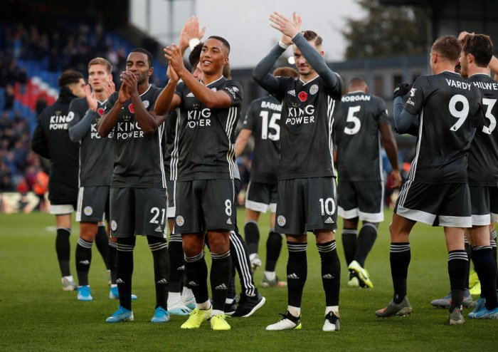 eicester City's James Maddison, Youri Tielemans and Ricardo Pereira applaud the fans after the match. Reuters photo
