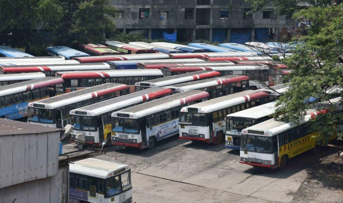 Buses parked at a depot during TSRTC employees' strike (PTI Photo)