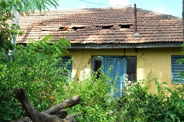 The damaged roof of a police quarters at Ramanahalli.