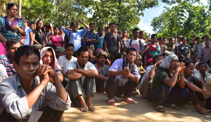 The refugees have been agitating near their Naisingpara relief camp in Tripura North district since Thursday seeking resumption of the ration supply to the camp inmates. (Photo: Tanmoy Chakraborty)