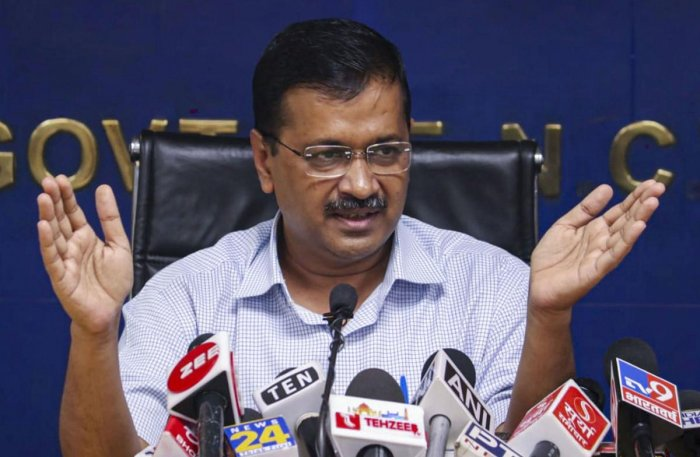 """Kejriwal said his government was not indulging in """"blame game"""" but looking for solutions to pollution caused by stubble burning. Photo/PTI"""