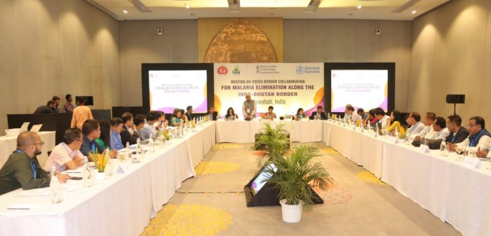 The meeting on cross border elimination of Malaria in India-Bhutan, in Guwahati on Monday and Tuesday. (Photo credit: Assam health department)
