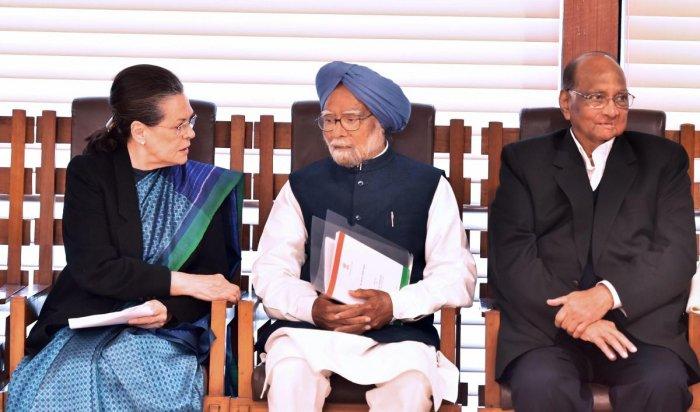 UPA Chairperson Sonia Gandhi, former Prime Minister Dr Manmohan Singh, NCP President Sharad Pawar. (PTI Photo)