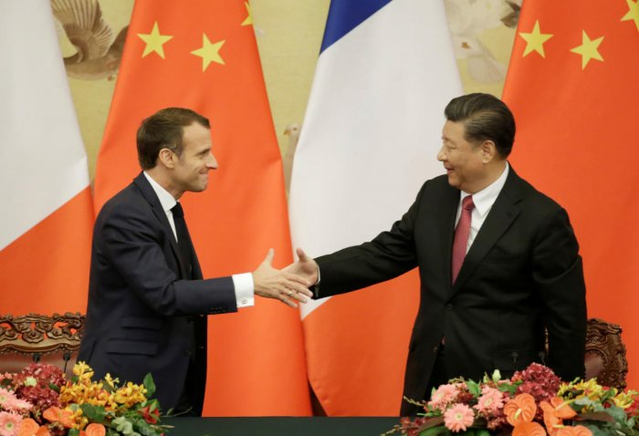 French President Emmanuel Macron shakes hands with China's President Xi Jinping after a joint news conference at the Great Hall of the People in Beijing, China November 6, 2019. (Reuters photo)