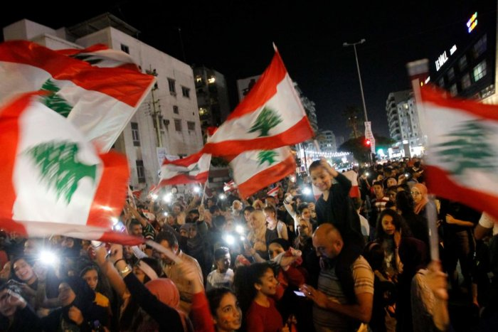 Lebanese protesters. AFP Photo