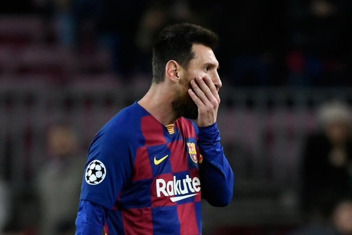 Barcelona's Argentine forward Lionel Messi reacts at the end of the UEFA Champions League group F football match between FC Barcelona and SK Slavia Prague at the Camp Nou stadium in Barcelona on November 5, 2019. (Photo by LLUIS GENE / AFP)
