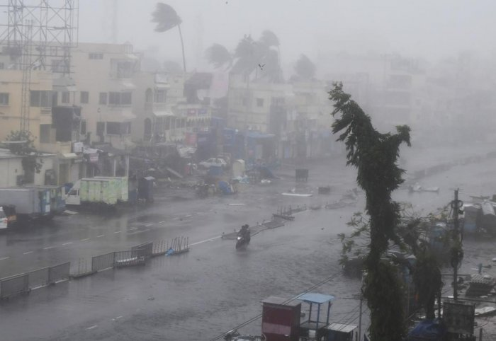 File AFP picture of Cyclone Fani.