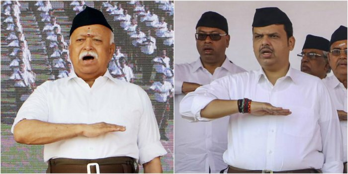 RSS chief Mohan Bhagwat (L) and Maharashtra CM Devendra Fadnavis (R) (PTI Photos)