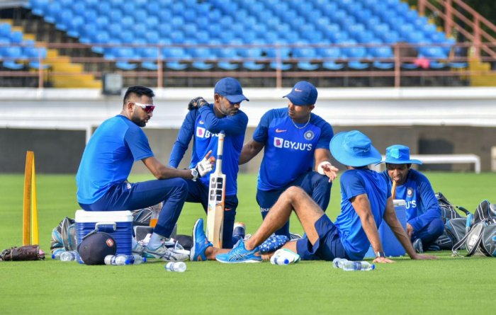 Indian cricket players during a practice session ahead of their second T20 match against Bangladesh, at Khanderi Stadium in Rajkot, Tuesday, Nov. 5, 2019. (PTI Photo)
