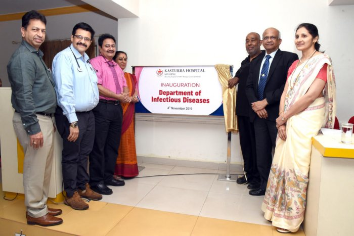 Zelalem Temesgen, director of Mayo Clinic, HIV programme, USA, and other dignitaries during the inauguration of Department Infectious Diseases at Kasturba Hospital in Manipal.