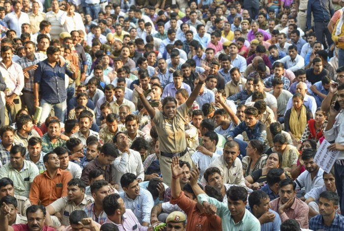 Police personnel protest in New Delhi on Tuesday. PTI