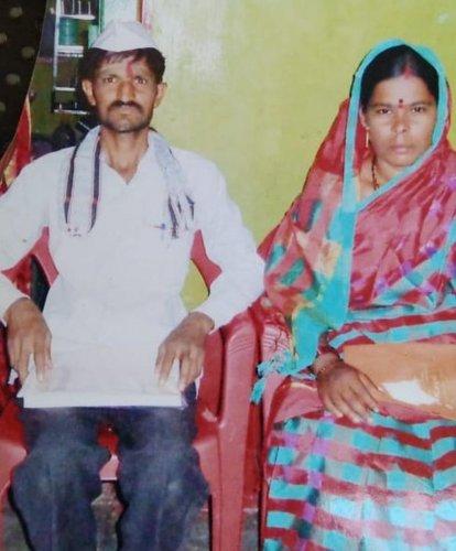 Srishaila seen with her murdered wife Sangeetha.