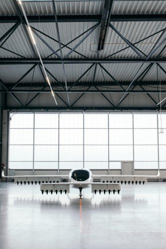 The Lilium prototype in a hangar in Wessling, Germany. (The New York Times)