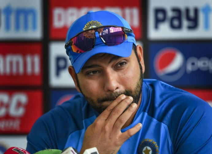 India's stand-in captain Rohit Sharma addresses the media before a practice session on the eve of the second T20 cricket match against Bangladesh, at Saurashtra Cricket Association Stadium in Rajkot, Wednesday, Nov. 6, 2019. (PTI Photo)