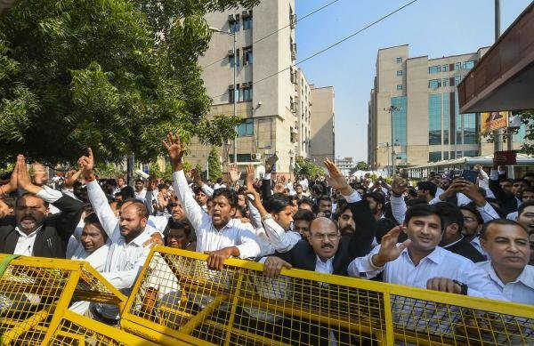 Lawyers stage a protest against the police over the recent Tis Hazari Court clashes, at Saket Court Complex in New Delhi, Wednesday, Nov. 6, 2019. (PTI Photo)