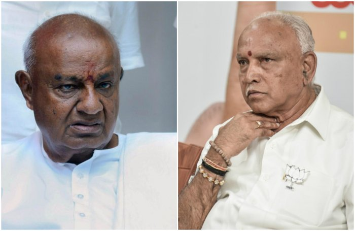 JD(S) supremo H D Deve Gowda and Chief Minister B S Yediyurappa