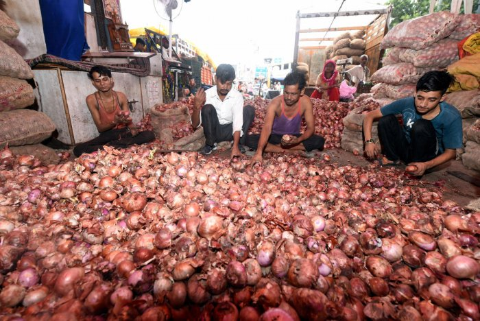A major market of the Agriculture Produce Marketing Committee (APMC), in New Delhi. (PTI Photo)