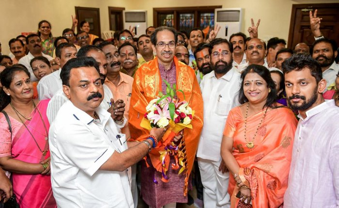 """""""The Sena MLAs passed a resolution authorising Uddhavji to take a final decision regarding government formation,"""" party legislator Shambhuraje Desai told reporters after the meeting ended. (PTI File Photo)"""