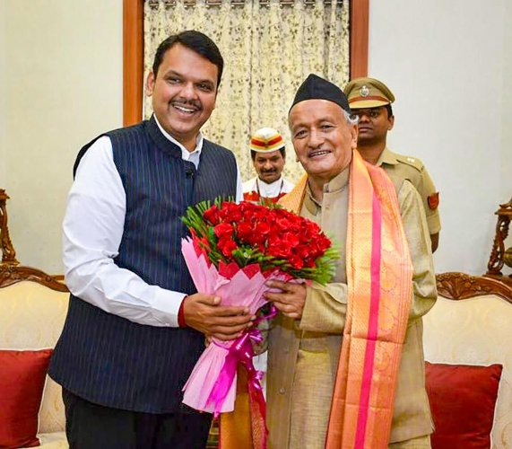 Maharashtra Governor Bhagat Singh Koshyari meets Chief Minister Devendra Fadnavis. (PTI File Photo)