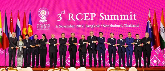 Prime Minister Narendra Modi in a group photo with other world leaders at the 3rd RCEP Summit in Bangkok, Thailand, Monday.