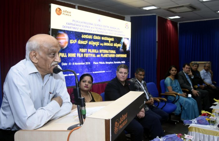 ISRO former Chairman ASKiran Kumar speaks at the inaugural function of the first Pilikula International Full-Dome Film Festival and Planetarium Conference at Pilikula Regional Science Centre in Mangaluru on Wednesday. dh photo
