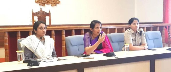 Deputy Commissioner Annies Kanmani Joy chairs a meeting on the flood relief measures, at the DC's office in Madikeri on Wednesday. Superintendent of Police Dr Suman D Pennekar and Additional Deputy Commissioner Dr Sneha look on.