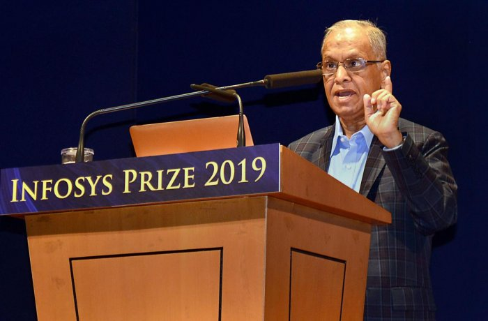 """Infosys Founder NR Narayana Murthy addresses during the announcement of """"Infosys Prize 2019"""" at Infosys Campus in Bengaluru, Thursday, Nov. 7, 2019. (PTI Photo)"""