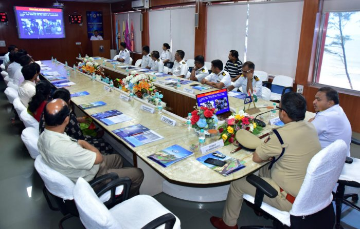 City Police Commissioner Dr PSHarsha, Coast Guard Karnataka Commander DIGS SDasila and other officials and stakeholders take part in the state-level Maritime Search and Rescue workshop at Indian Coast Guard (ICG) in Panambur, Mangaluru, on Thursday.
