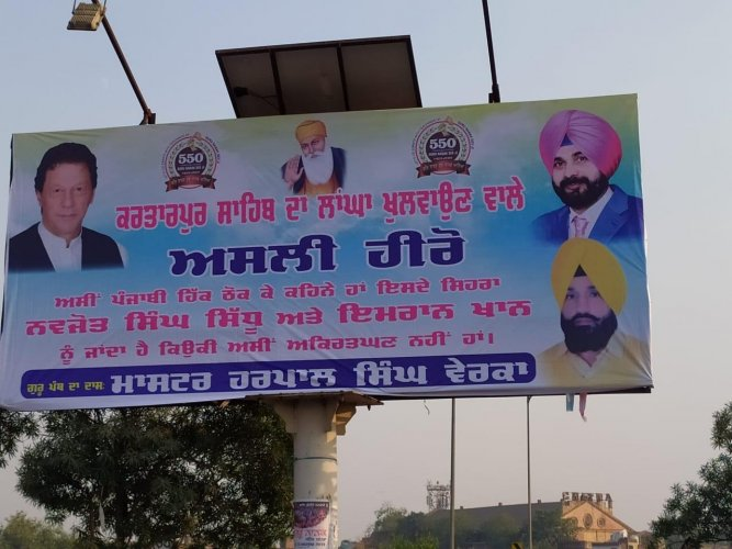 """The hoardings, hailingSidhuand Khan as """"real heroes"""" of the corridor project, had been put up in the city by former cricketer's staunch supporter and municipal Councillor Harpal Singh Verka, whose picture too adorned the hoardings. Photo/Twitter (@majorgauravarya)"""