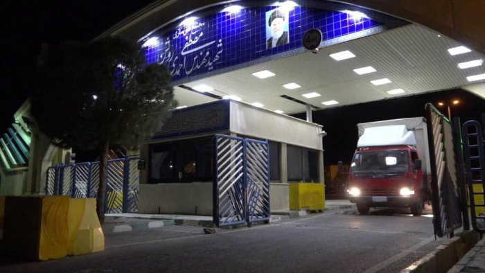 A handout picture released by Iran's Atomic Energy Organization on November 6, 2019, reportedly shows a truck carrying UF6 fuel leaving the Natanz nuclear power plant in the central Iranian province of Isfahan to the underground Fordo (Fordow) facility. AFP/Handout/Atomic Energy Organization of Iran