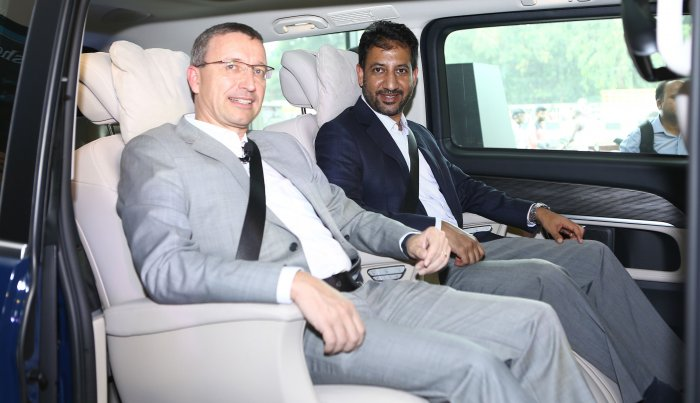 Mr. Martin Schwenk, MD and CEO of Mercedes-Benz India along with Mr. Arun Surendra, Managing Director, VST Titanium Motors at the launch of the new V-Class Elite in Chennai on Thursday