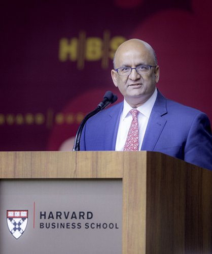 """Nitin Nohria said serving as Dean has been a """"privilege for which I am immensely grateful"""". Photo/hbs.edu"""