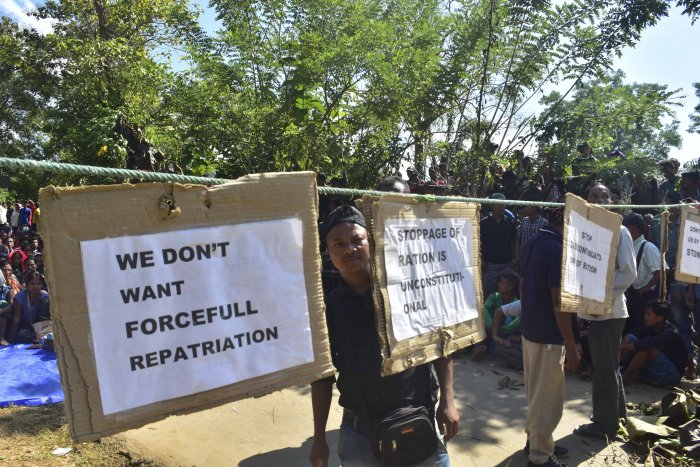 "Brus refugees staging a protest against near their relief camps in Tripura North district against ""forceful repatriation"" to Mizoram. (Photo by Tanmoy Chakraborty in Agartala)"