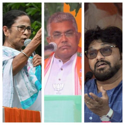 West Bengal Chief Minister Mamata Banerjee (L), state BJP president Dilip Ghosh (C) and Union Minister Babul Supriyo (R).