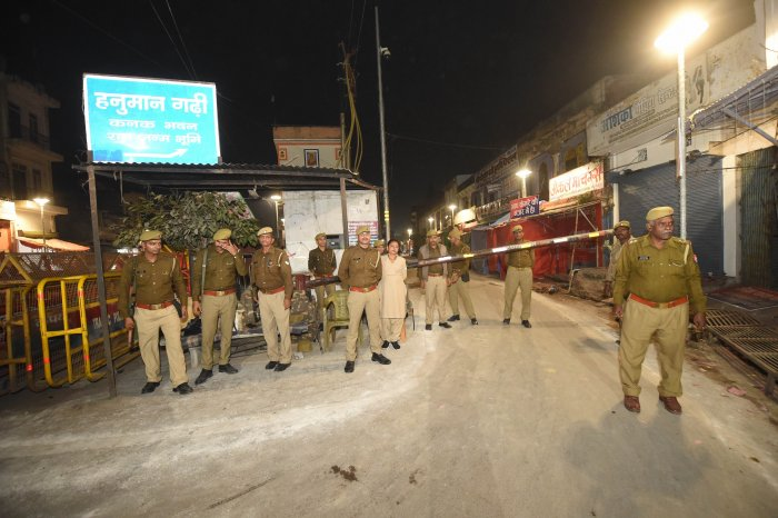 Police personnel near the site of disputed Ram Janambhoomi-Babri Masjid site, in Ayodhya. (PTI Photo)