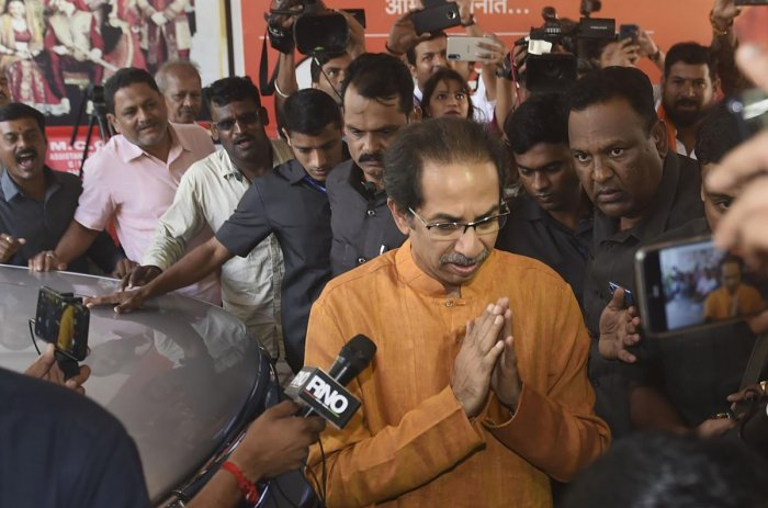 Shiv Sena President Uddhav Thackeray arrives at Sena Bhavan for a meeting, in Mumbai, Friday, Nov. 8, 2019. The party has maintained that it was decided before the Lok Sabha election that there would be an equal sharing of posts and responsibilities between the party and the BJP. (PTI Photo)