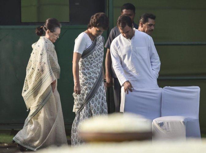 Congress party President Sonia Gandhi, party leader Rahul Gandhi and General Secretary Priyanka Gandhi Vadra. (PTI Photo)