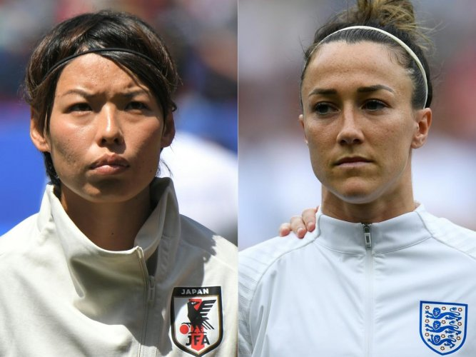 Japan and England women football player