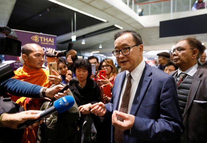 Cambodia's self-exiled opposition party founder Sam Rainsy (Reuters Image)
