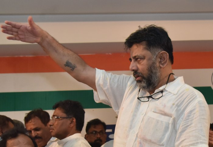D K Shivakumar during the press conference at KPCC office in Bengaluru. (DH Photo)