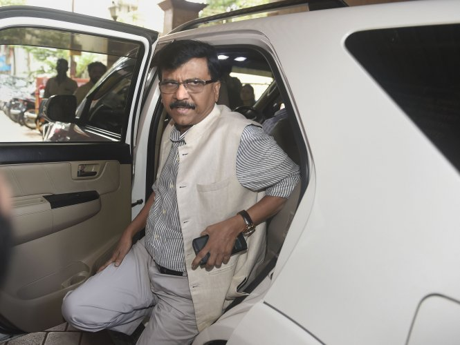 Shiv Sena leader Sanjay Raut arrives at Sena Bhavan for a meeting, in Mumbai, Friday, Nov. 8, 2019. The party has maintained that it was decided before the Lok Sabha election that there would be an equal sharing of posts and responsibilities between the party and the BJP. (PTI Photo)