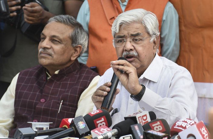 VHP working President Alok Kumar talks to the media after the Supreme Court's verdict Ayodhya case, in New Delhi. (PTI Photo)