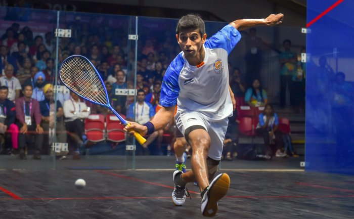 India's Saurav Ghosal in action during men's squash semifinal match against Hong Kong at the 18th Asian Games 2018 in Jakarata. (PTI Photo)
