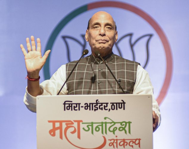 Union Defence Minister and senior BJP leader Rajnath Singh. (PTI Photo)