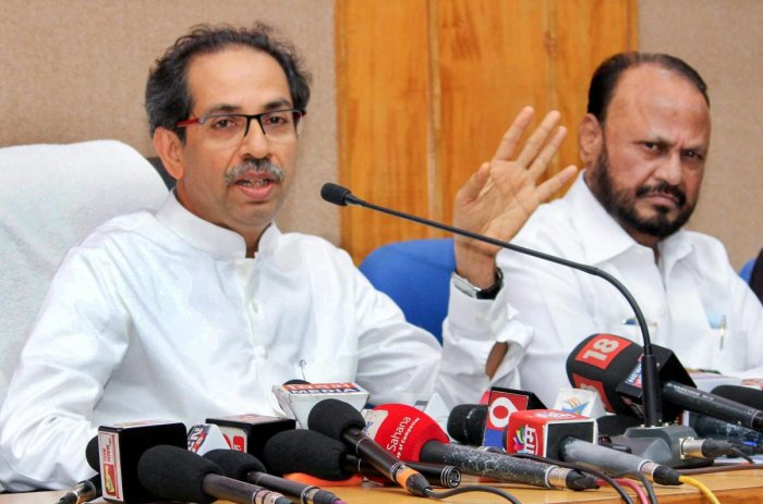 Shiv Sena chief Uddhav Thackeray speaks at a press conference. (PTI File Photo)